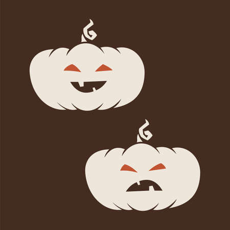 White Cartoon halloween pumpkins icon. Smiley and evil emotions