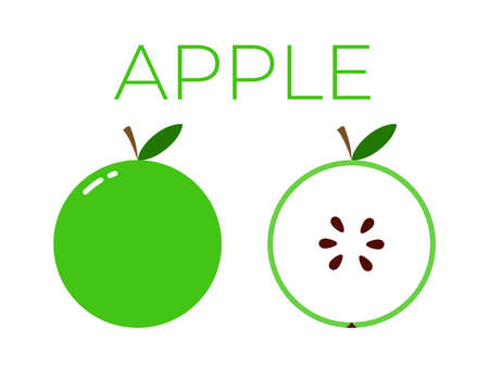 Vector of apple and sliced half of apple on white background