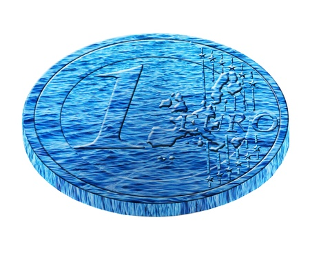 diluted: euro coin of water
