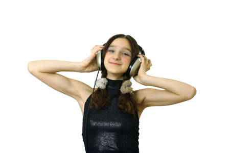teenager smiling girl with headphones listen music isolated over white Stock Photo - 656732