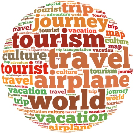 Travel info-text graphics and arrangement concept on white background  word cloud   photo