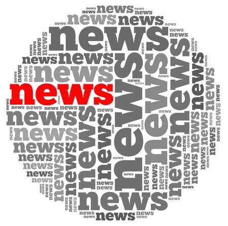 Grafica notizie info-testo e concetto di disposizione su sfondo bianco, parola, nuvola
