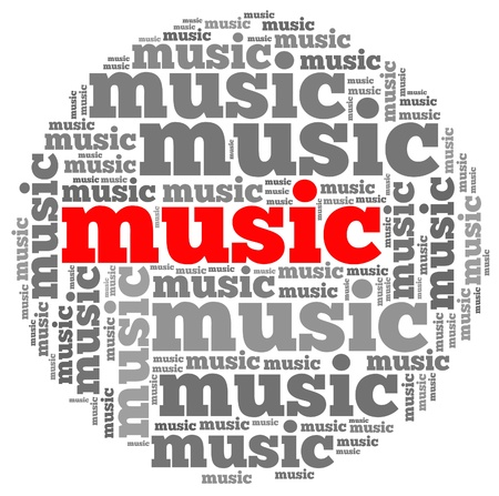 Music info-text graphics and arrangement concept on white background  word cloud   photo