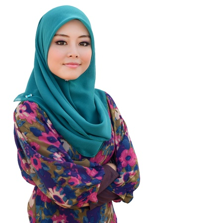 Young asian muslim woman in head scarf smile isolated white