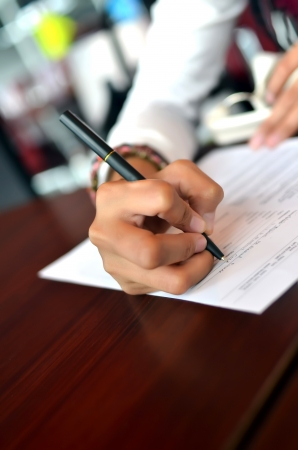 Woman filling the form on job interview  Stock fotó