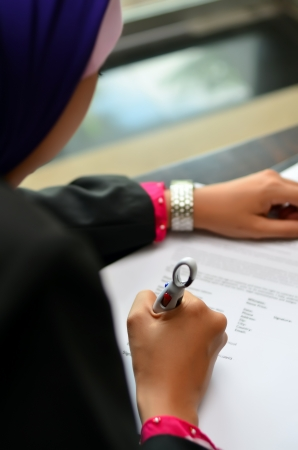 financial planner: Close up of hand writting  Stock Photo