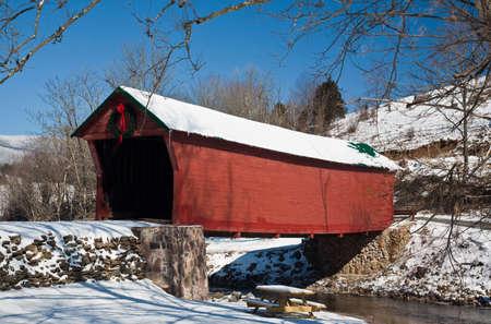 restored: Restored Historic Covered Bridge Stock Photo