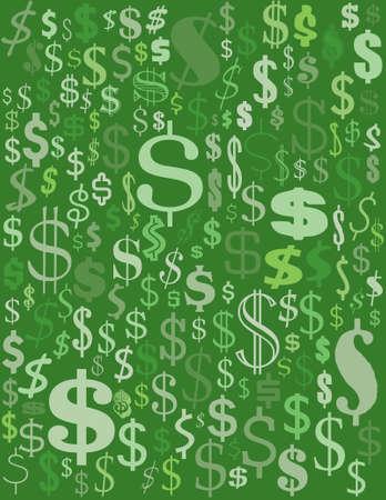 別の緑のドル記号のコレクション  イラスト・ベクター素材