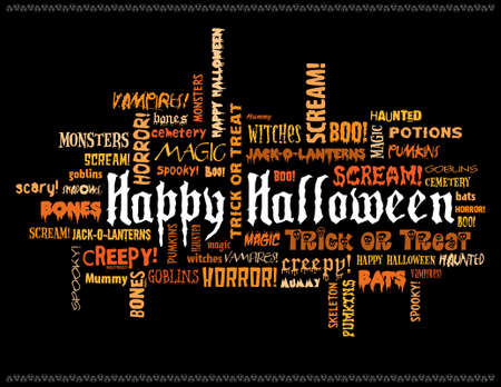 ghouls: happy halloween and other scary words on a black background