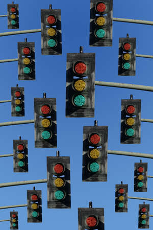 unclear: red,yellow and green lights on a sky blue background