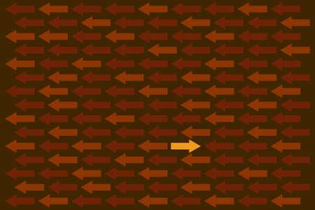 oppos: mer de fl�ches avec un d�placement dans la direction oppos�e Illustration