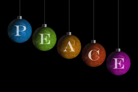 multi colored ornaments that spell peace photo