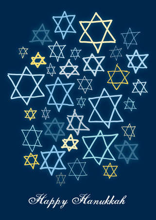 Happy Hanukkah stars on a dark blue background Imagens