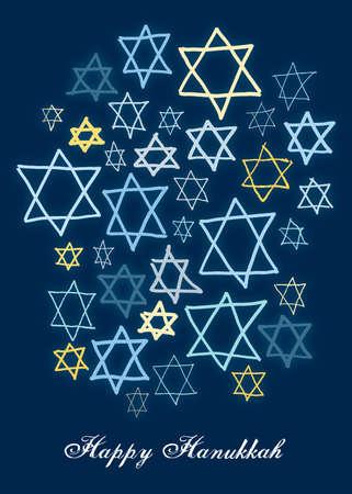 hanukah: Happy Hanukkah stars on a dark blue background Stock Photo