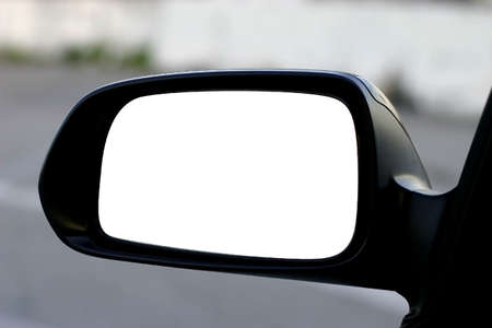 side views: left side rear view mirror with clipping path Stock Photo