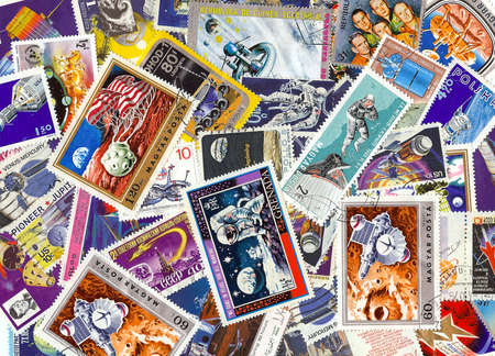 rocketship: collection of vintage space stamps from different countries