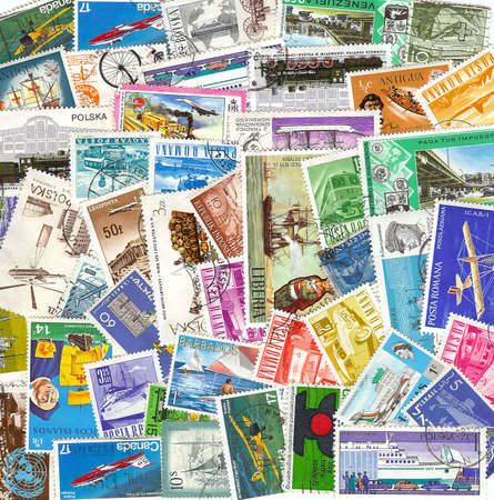 collection of vintage transportation stamps from different countries photo
