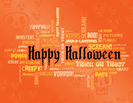 happy halloween: happy halloween and other scary words on an orange background Illustration