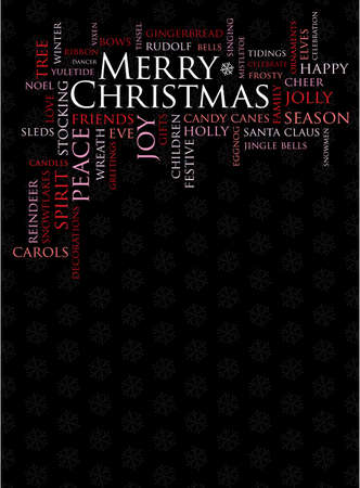 tidings: merry christmas and other holiday words on a black background