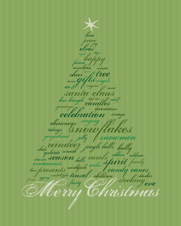 merry christmas and other words in green that make abstract trees