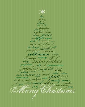 Merry Christmas en andere woorden in het groen die abstracte bomen