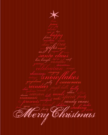 tidings: merry christmas and other words in red that make abstract trees Illustration