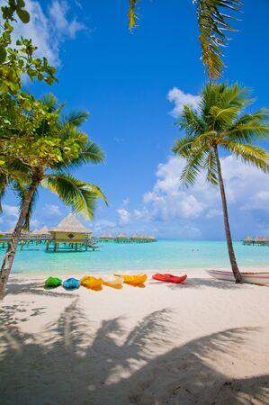 Kayaks on the Beach in Bora Bora