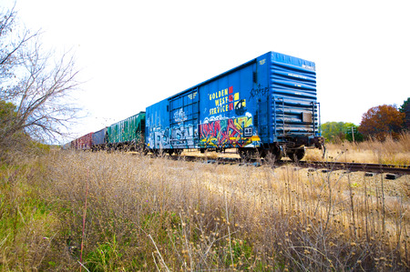 A train car on the track with graffiti