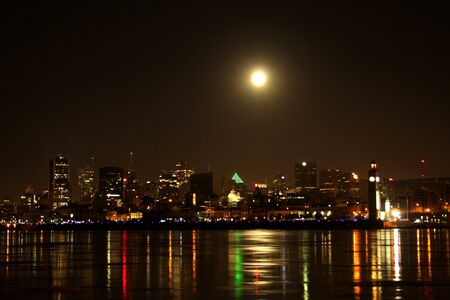 Moon shining on Montreal photo