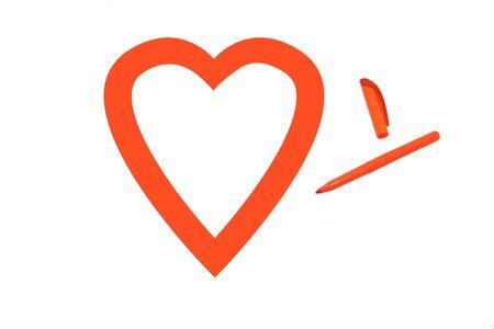 office romance: Orange love Stock Photo