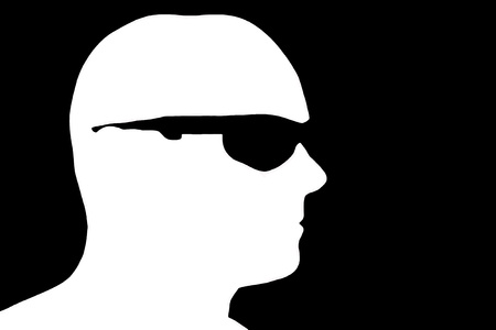 bald: Silhouette profile with glasses