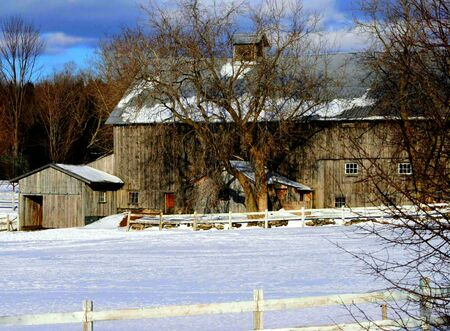 Winter barn HDR photo