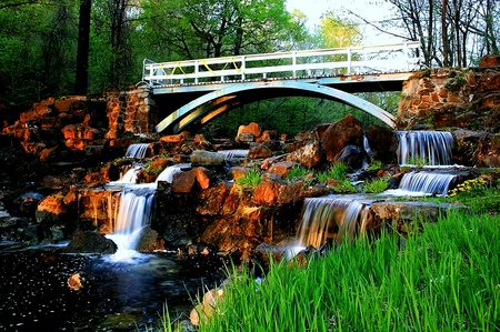 Bridge and waterfall HDR