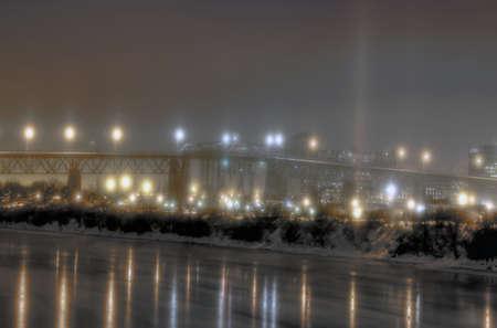 Snowy night time bridge Stock Photo - 17260484