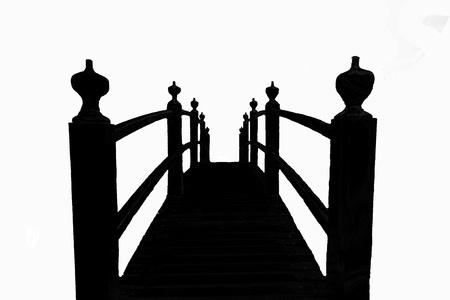 japanese garden: Footwalk bridge in silhouette Stock Photo