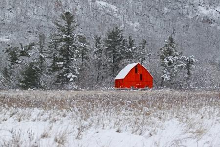 barns winter: Red Barn 46 Stock Photo