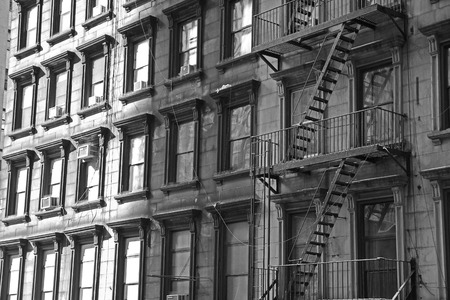 NYC apartment building 21bw photo