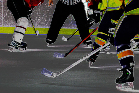 Hockey face off viewed with a neon look Stock Photo