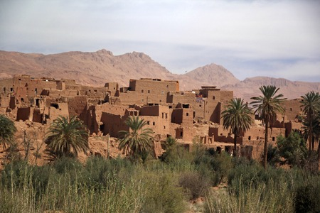 Ancient Kasbah found in Moroccos desertic countryside Standard-Bild - 110477291