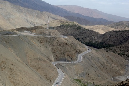 Long and winding roads in Morocco's Atlas mountains with dagerous curves