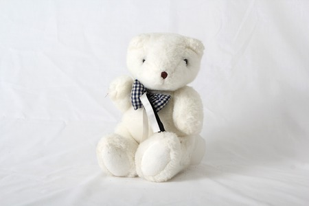 Cuddly stuffed teddy bear on a white neutral background