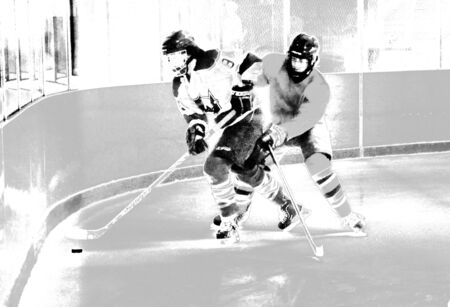 Grunge look effect of hockey players in different action shts