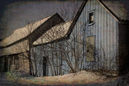 Old barn photos manipulated for an illustration