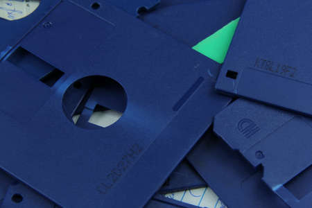 Old blue floppy disks destroyed for recycling and security 版權商用圖片