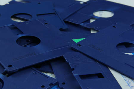 Old blue floppy disks destroyed for recycling and security Standard-Bild