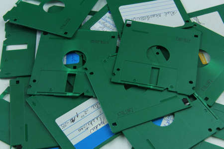 Old green floppy disks destroyed for recycling and security