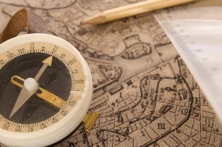 map pencil: Old compass old map ruler and pencil Stock Photo