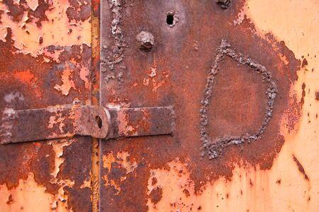 Background rusty gate of garage photo