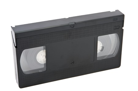 videocassette: Old obsolete videocassette on white background