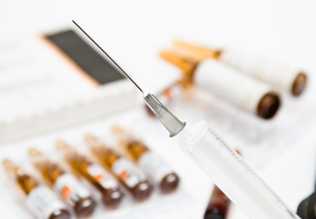 Medical syringe and ampoules with vitamin a medicine